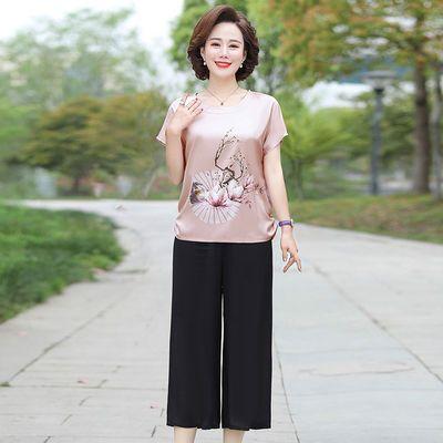 中年妈妈春装雪纺T恤小衫短袖上衣洋气中老年女夏装两件套装短袖