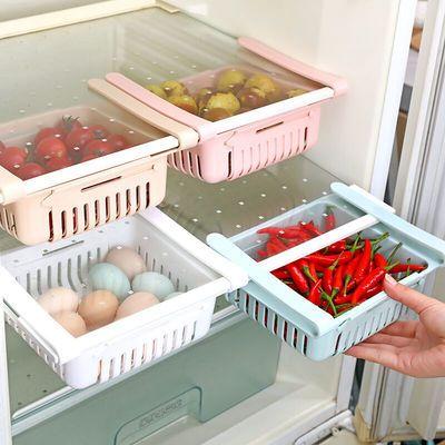 冰箱内保鲜可伸缩收纳盒鸡蛋托盘蓝储物篮抽屉抽拉式筐水果悬挂架