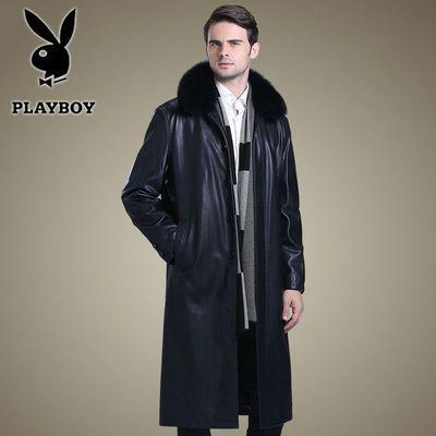 花花公子新款男士真皮风衣海宁长款绵羊皮大衣宽松真毛领真皮外套