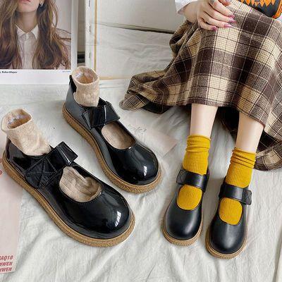 日系可爱jk制服黑色圆头小皮鞋女复古英伦学院风软妹厚底大头鞋女
