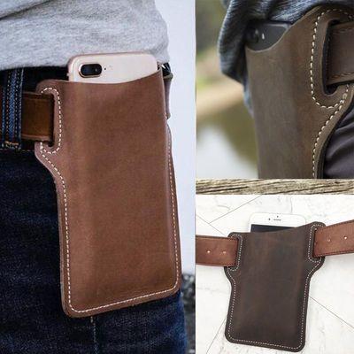疯马皮真皮手机腰包挂腰手机袋男士便携式穿皮带手机包户外登山包