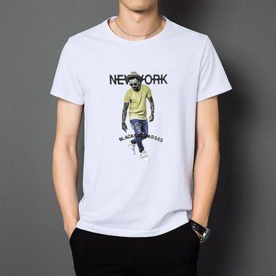 2020夏季男装青少年潮流韩版半袖衫男学生圆领修身印花男t恤短袖
