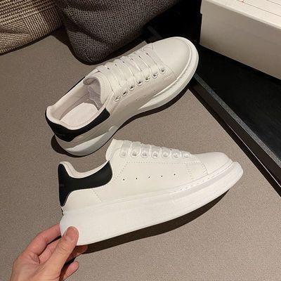 麦昆小白鞋女真皮2020夏季新款平底ins韩版百搭松糕厚板彩色鞋带