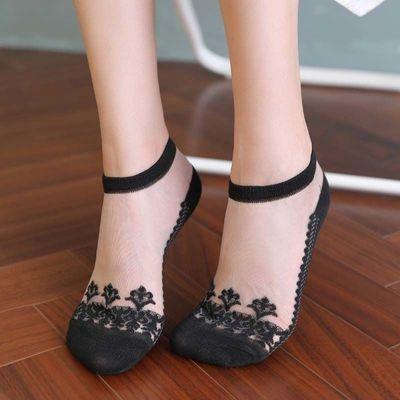 3-8双夏季袜子女韩版船袜冰丝透气浅口薄款水晶玻璃丝袜学生袜子