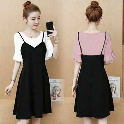 大码女装胖mm2020新款仙女裙假两件连衣裙女夏天学生韩版短袖宽松