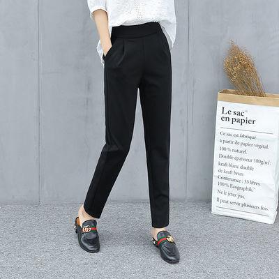 黑色西装裤女薄款2020夏季新款宽松胖mm萝卜裤九分裤哈伦裤休闲裤