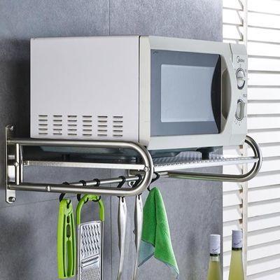 304不锈钢厨房微波炉置物架壁挂式2层烤箱架子调料收纳用品挂架