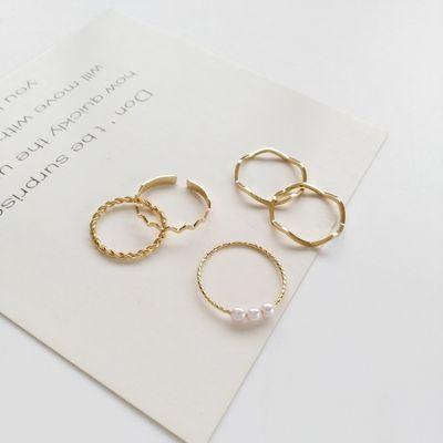 唯美日韩简约波浪形戒指五件套个性指环不可调节网红尾戒指女