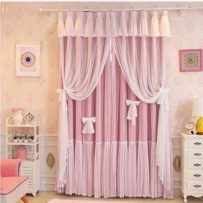 韩式粉色蕾丝网红窗帘公主风成品遮光女孩卧室飘窗双层定制窗纱帘