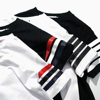 夏季新款黑白色TB四杠开衩半袖tee 情侣装百搭 圆领短袖T恤男女潮
