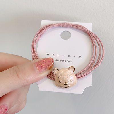 头绳女韩版可爱少女心粉色兔子小熊发绳扎头发皮筋双层发圈小皮套