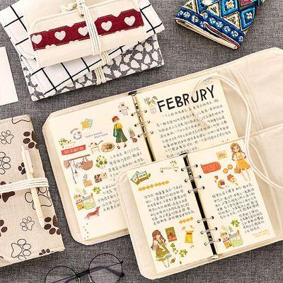 小清新日韩棉麻手账本网红少女心旅行日记可拆卸活页夹可爱风笔记