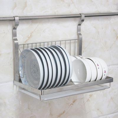 可折叠放碗架沥水碗碟架厨房置物架壁挂式一体式不锈钢碗碟收纳架