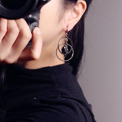 XLJ欧美时尚立体多圈925银耳钩大耳环无耳洞耳夹潮流夸张耳饰女个