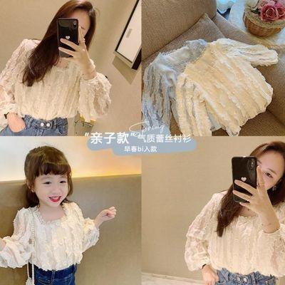 Amybaby亲子装蕾丝打底衬衫女童母女装春季新款雪纺镂空宫廷气质