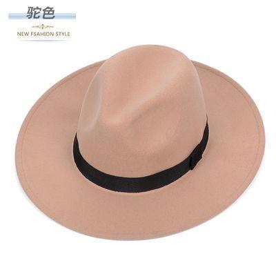 上海滩大沿礼帽子男士黑色毛呢英伦帽子女爵士毡帽老人复古休闲帽