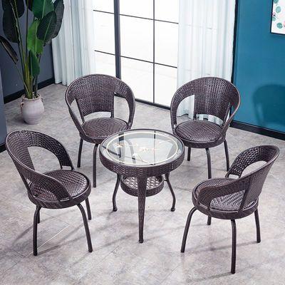 阳台桌椅户外藤椅三件套靠背椅小茶几旋转椅子组合室内家用藤编凳