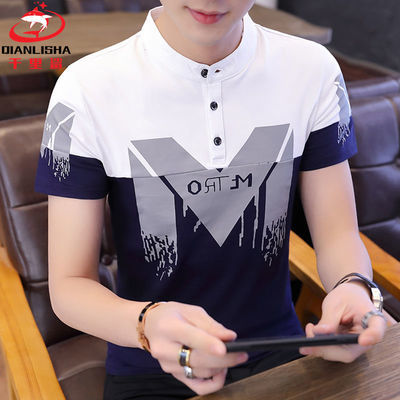 ?【千里鲨】95%棉夏季男士短袖立领POLO衫韩版时尚潮流半袖T恤衫