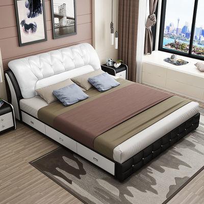 真皮床现代简约婚床储物高箱床1.8米主卧双人床1.5米小户型皮床