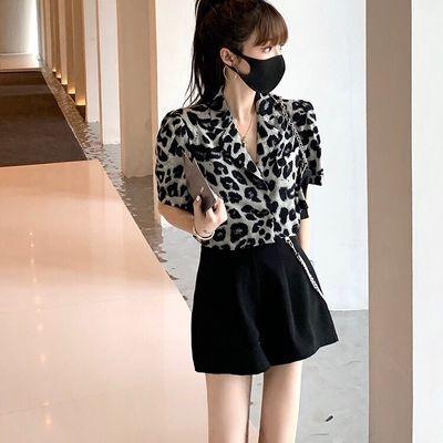 2020夏季新款韩版气质泡泡袖斑马纹短袖西装上衣+休闲短裤套装女