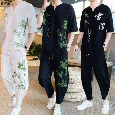 恒源祥【高品质纯棉套装】金洋船中国风复古刺绣两件套短裤夏季男