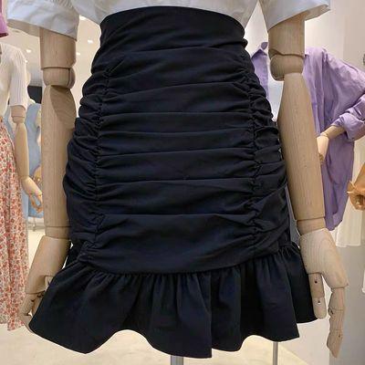 俏皮甜美百搭高腰a字短裙修身包臀裙2020春夏新品显瘦褶皱半身裙