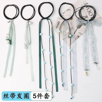 国蕾丝串珠条纹扎马尾皮筋丝带发圈发绳长飘带扎头绳女流苏缎带韩