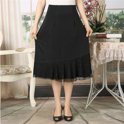 中老年蕾丝半身裙松紧腰短裙妈妈装跳广场舞裙子奶奶装夏季凉爽裙
