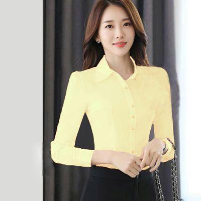 韩版2020春秋新款职业装宝蓝色衬衫女长袖修身百搭气质大码红衬