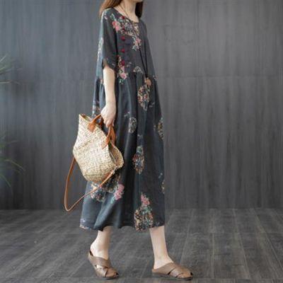 2020夏季新款韩版宽松大码女装拼接印花洋气盘扣打底气质连衣裙