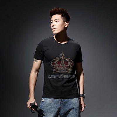 夏季男装短袖T恤男个性修身百搭字母皇冠烫钻丝光棉潮流打底衫