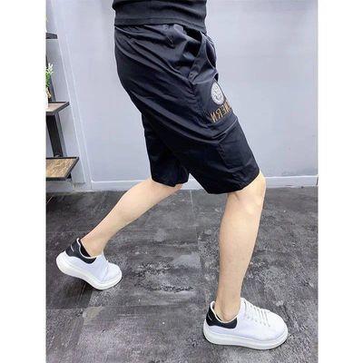 夏季薄款休闲五分裤男潮流百搭弹力刺绣修身短裤青少年时尚沙滩裤