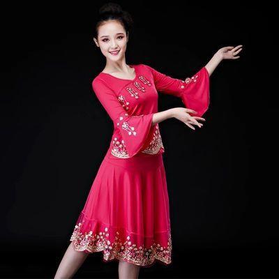 广场舞跳舞衣服女套装2019新款夏民族舞蹈演出服装女成人秧歌舞裙