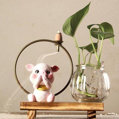 倒流香炉家用室内创意风化木摆件客厅玄关陶瓷招财猪沉香檀香熏炉
