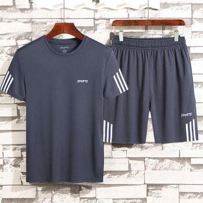 恒源祥男装夏装运动套装男短裤两件套男士短袖t恤运动服休闲裤宽