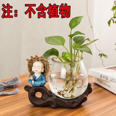 绿萝水培花瓶玻璃富贵竹水养植物桌面迷你陶瓷多肉花盆花器小和尚