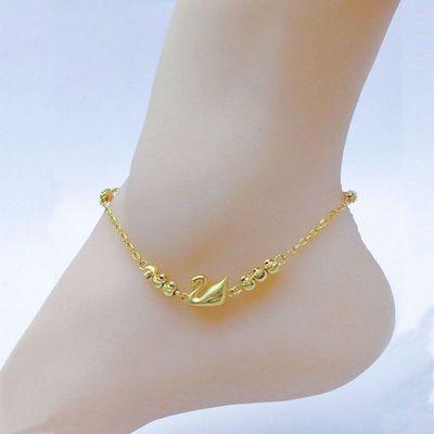 新款越南沙金久不掉色脚链女生爱心金鱼钱袋欧币金时尚流行脚链