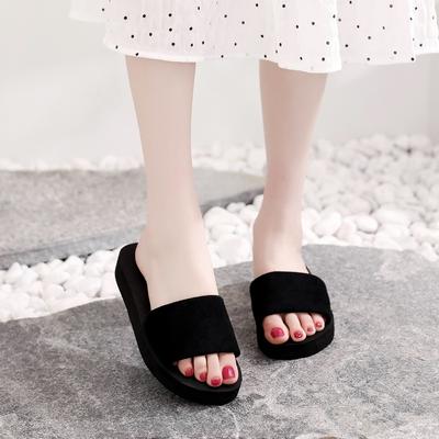 新款花中高厚拖鞋女夏沙滩女士凉鞋女鞋子凉拖女韩版外穿人字拖女