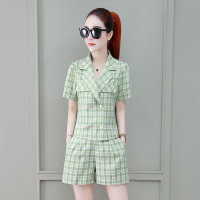 格子西装短裤套装女2020夏新款小香风时尚气质小西服显瘦两件套