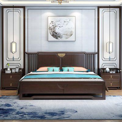 新中式实木床1.8米橡胶木双人主卧婚床豪华1.5米单人床卧室家具