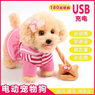 儿童电动毛绒玩具狗狗会唱歌会叫电子机器狗仿真泰迪牵绳走路小狗
