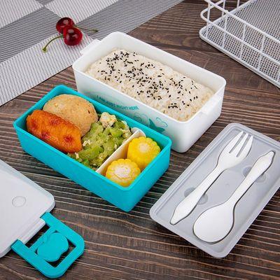 饭盒学生女保温便当盒两格带盖上班族餐盒微波炉密封塑料日式饭盒