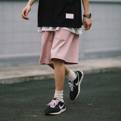 PSO Brand 月牙刺绣卫裤运动休闲短裤男宽松夏季外穿百搭五分裤潮
