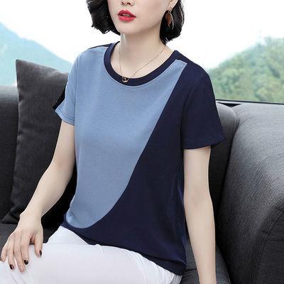 女士短袖2020年新款宽松夏棉质大码中年时尚t恤宝蓝色拼接上衣潮