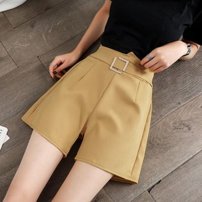 雪纺阔腿短裤女夏季2020新款高腰休闲百搭显瘦直筒西装裤Chic热裤
