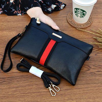 手拿包女时尚新款2019撞色条纹单肩斜挎包欧美气质手机包大容量