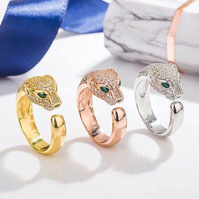 欧美s925纯银豹头戒指微镶猎豹男士女士开口豹子指环跨境配饰银饰