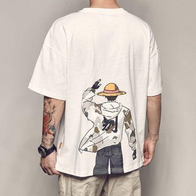 男道日系动漫印花短袖T恤男夏季新款休闲宽松体恤潮流情侣圆领TEE