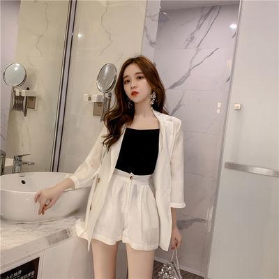 网红休闲西服短裤外套套装女2020春夏新款薄款白色小西装两件套女