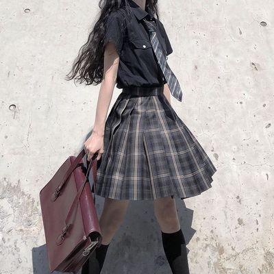 现货多色jk两件套暗黑系2020夏季新款韩版jk格子百褶裙女学生套装